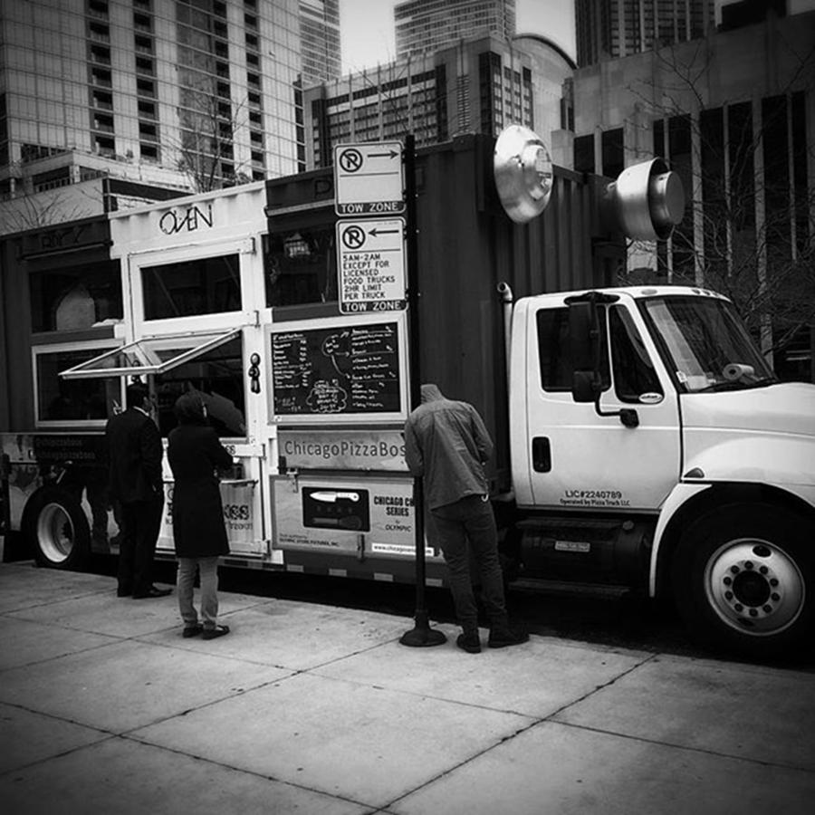 Lunchtime Photograph - Pizza Oven Truck - Chicago - Monochrome by Frank J Casella