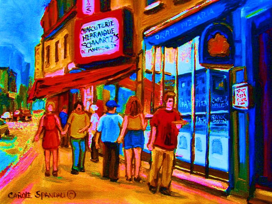 Montreal Painting - Pizza To Go by Carole Spandau