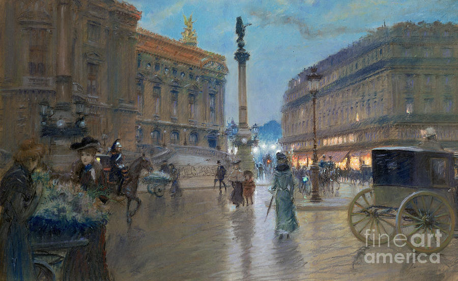 City Painting - Place De L Opera In Paris by Georges Stein