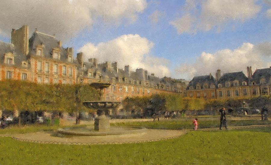 Paris Digital Art - Place Des Vosges by Mick Burkey