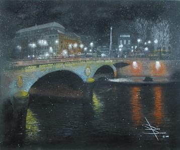 Bridge Painting - Place St. Michel by Don Duncan