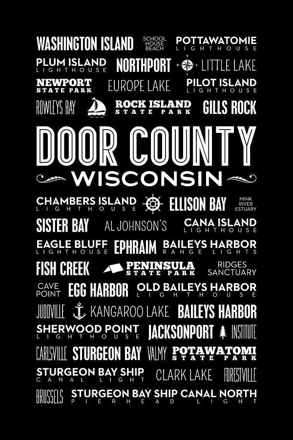 Door County Digital Art - Places Of Door County On Black by Christopher Arndt