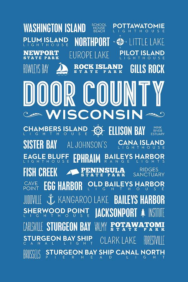 Door County Digital Art - Places Of Door County On Blue by Christopher Arndt