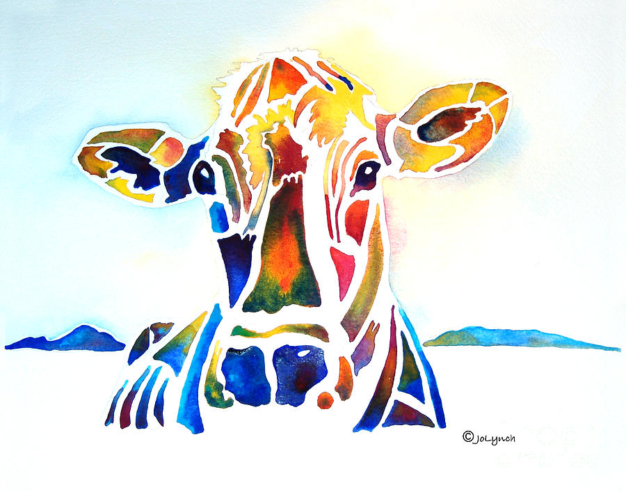 Cow Painting - Placid The Cow by Jo Lynch