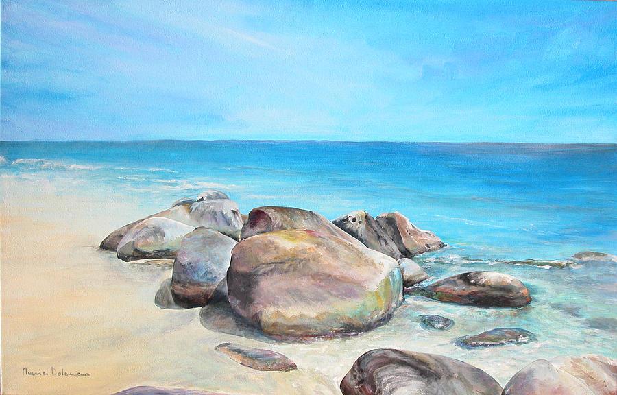 Paysage Painting - Plage by Muriel Dolemieux