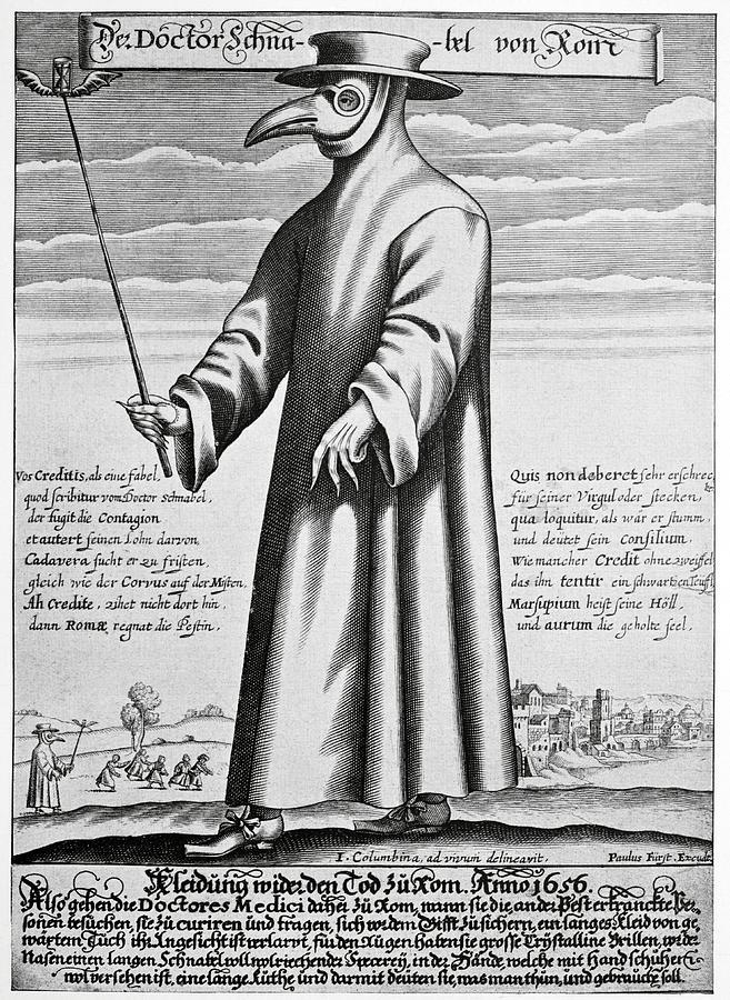 Bubonic Plague Photograph - Plague Doctor, 17th Century Artwork by