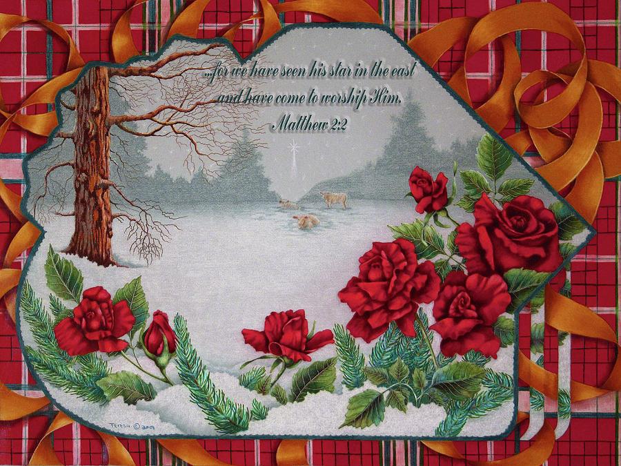 plaid christmas card with scripture digital artteresa