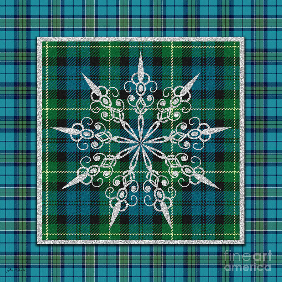 Jean Plout Painting - Plaid Snowflakes-jp3706 by Jean Plout