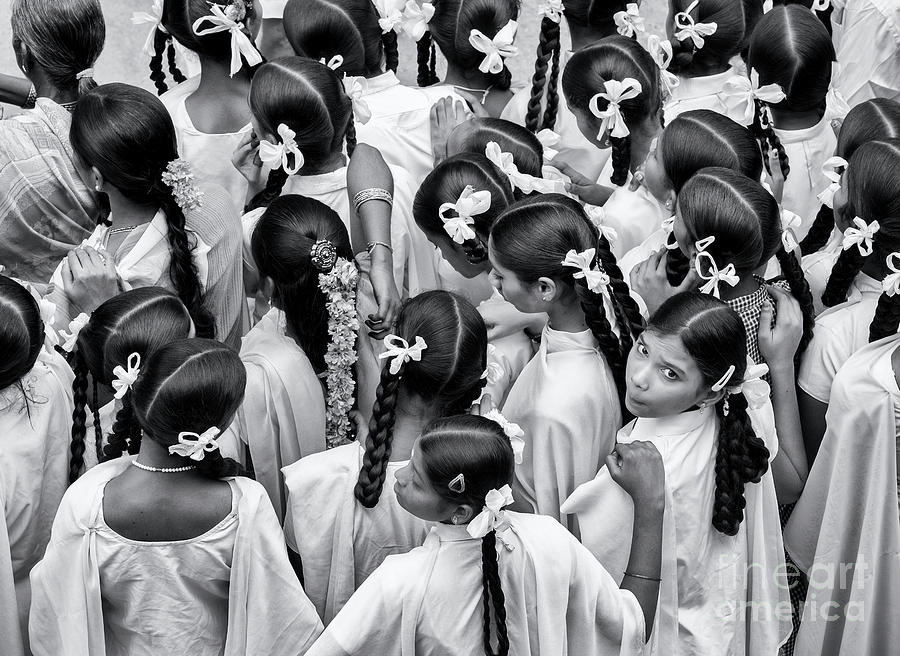 Indian Girls Photograph - Plaits And Bows by Tim Gainey