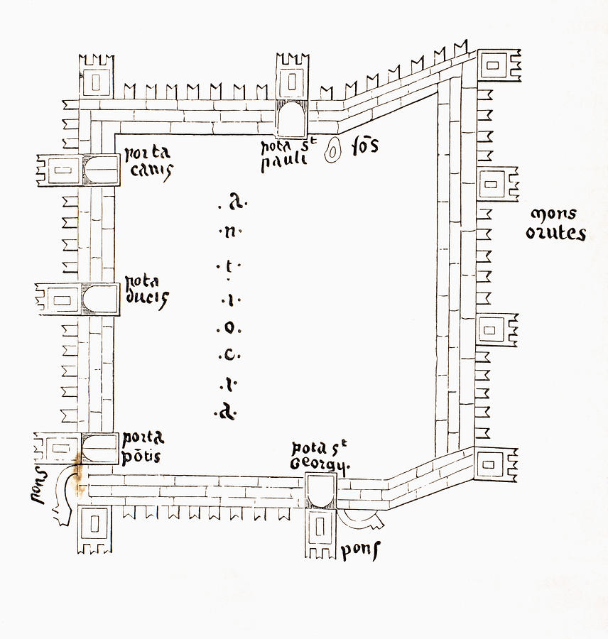 Ages Drawing - Plan Of 13th Century Antioch Showing by Vintage Design Pics