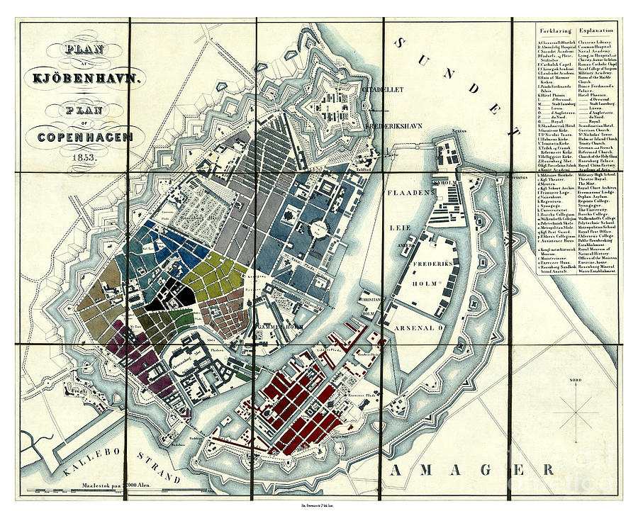 "16/"" X 24/"" 1853 Map of Plan af Kjöbenhavn Plan of Copenhagen Copenhagen"