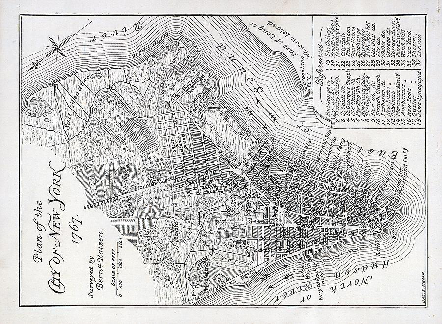 Map Painting - Plan Of The City Of New York by American School