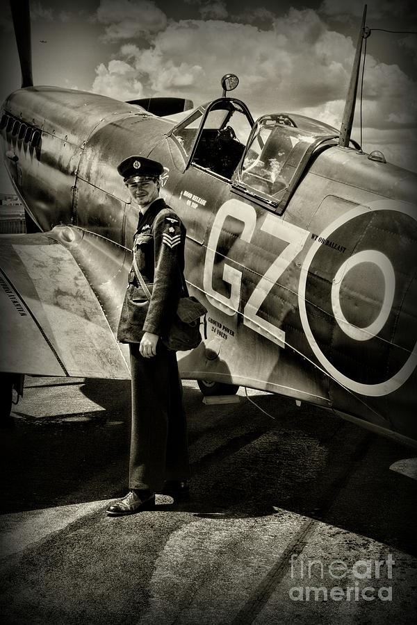 Plane - British Spitfire And Pilot by Paul Ward