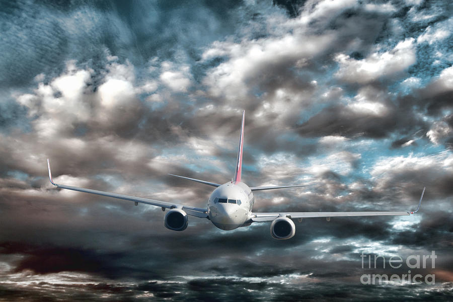 Above Photograph - Plane In Storm by Olivier Le Queinec