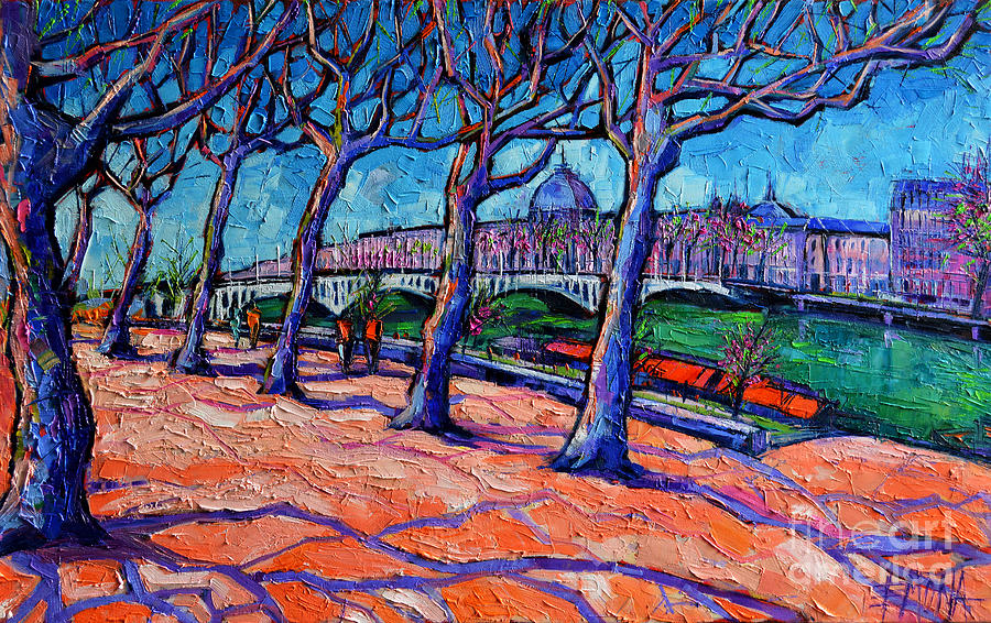 Lyon Painting - Plane Trees Along The Rhone River - Spring In Lyon By Mona Edulesco by Mona Edulesco