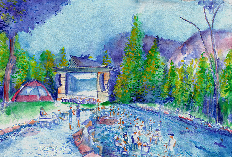 Lyons Painting - Planet Bluegrass Lyons Colorado by David Sockrider