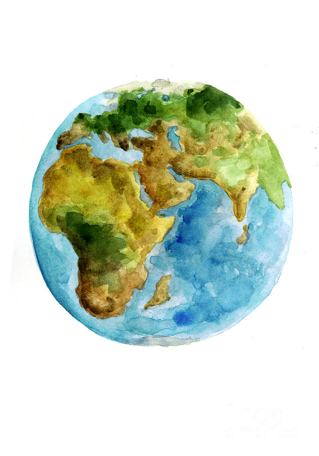 Planet Earth Watercolor Poster Painting By Joanna Szmerdt