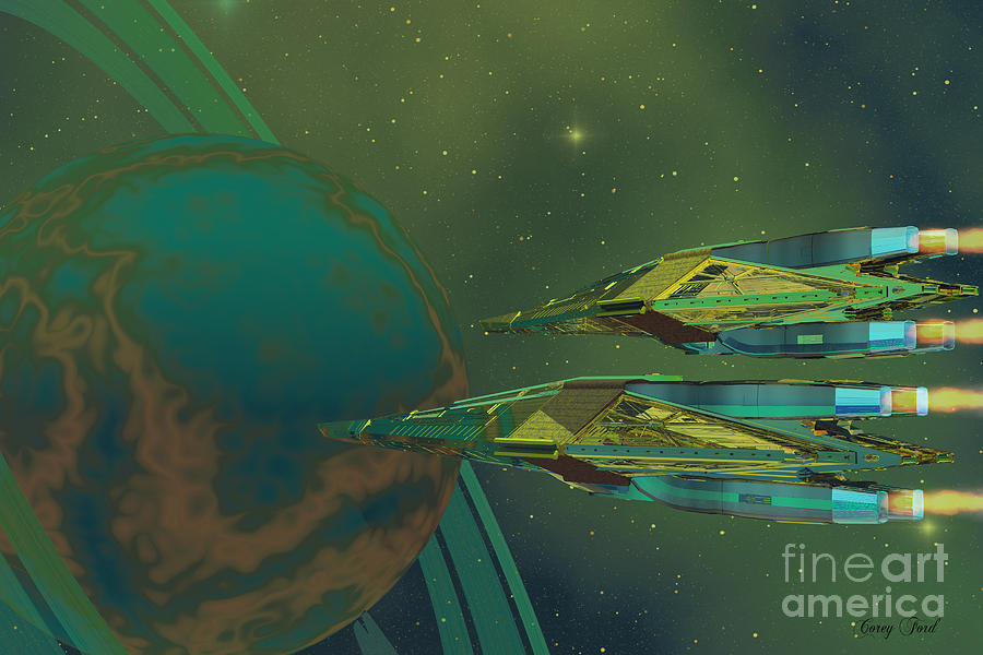Spaceship Painting - Planet Of Origin by Corey Ford