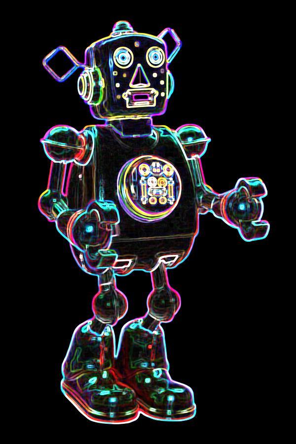 Robot Digital Art - Planet Robot by DB Artist