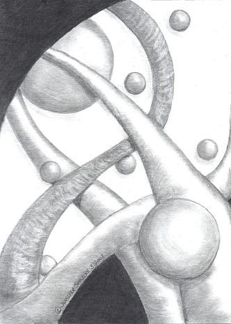 Abstract Drawing - Planetary Spendor - Www.jennifer-d-art.com by Jennifer Skalecke