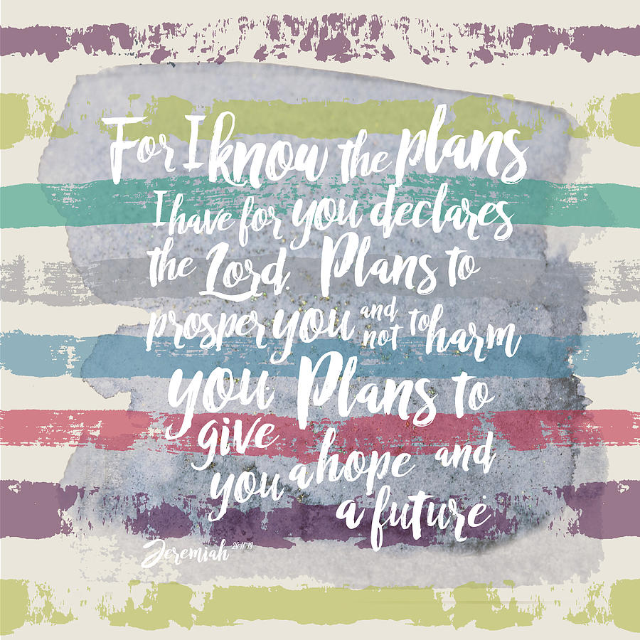 Jeremiah 29:11 Digital Art - Plans I Have For You Stripes by Claire Tingen