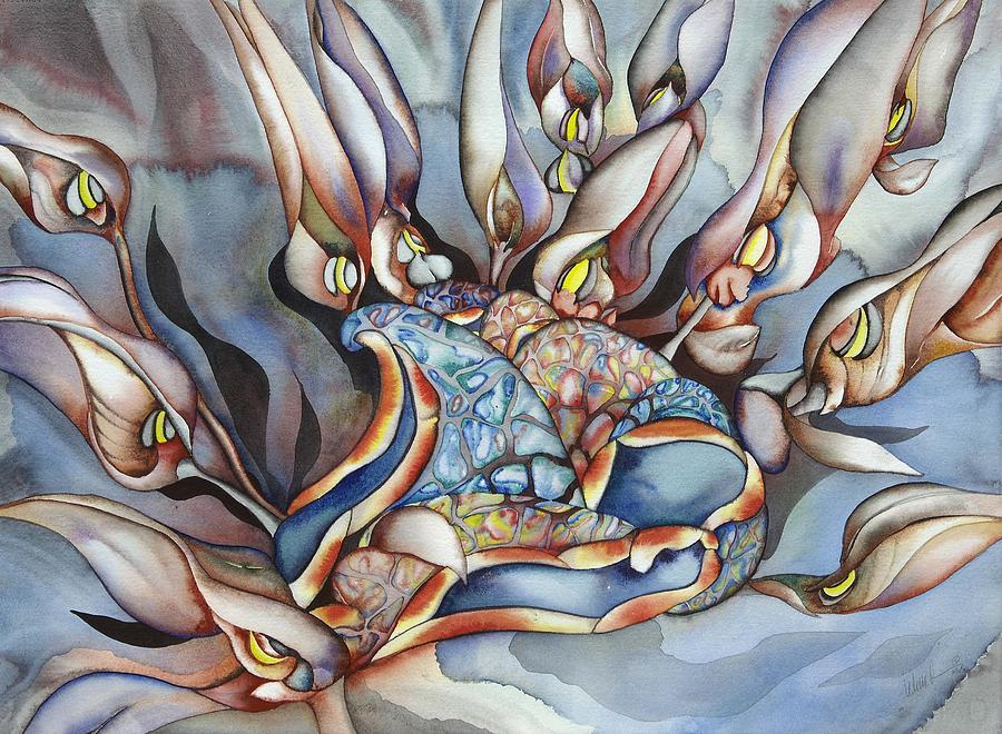 Sealife Painting - Plant Life Below by Liduine Bekman
