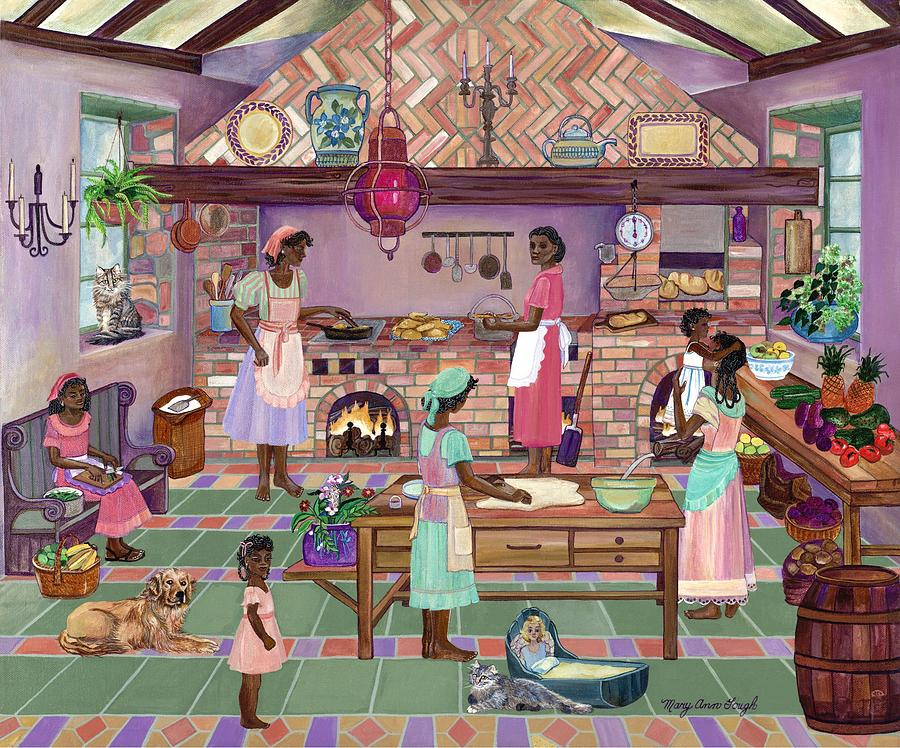 People Painting - Plantation Kitchen Barbados by Mary Ann Gough