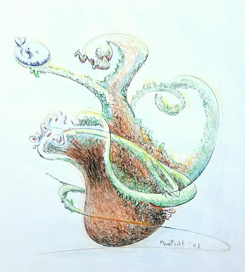 Planter Drawing - Planter With Whale by Dave Martsolf
