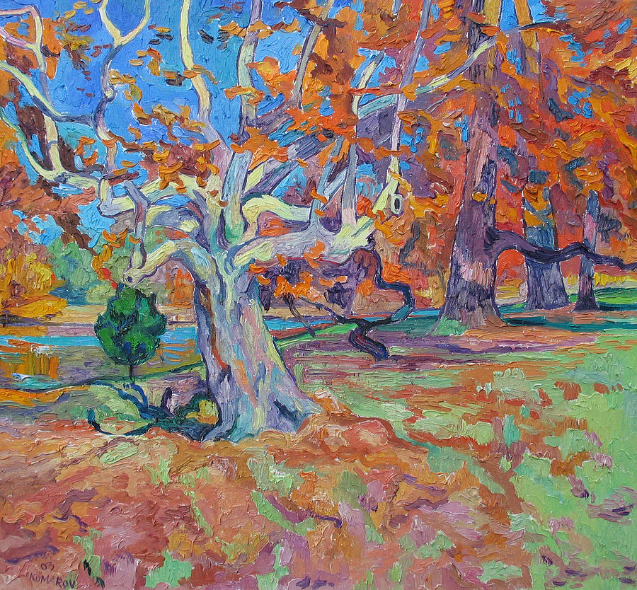 Platan Painting - Platan tree in sunny autumn by Vitali Komarov