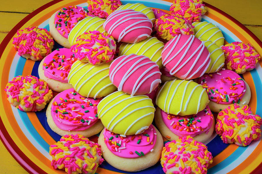 Pile Photograph - Plate Of Colorful Cookies by Garry Gay