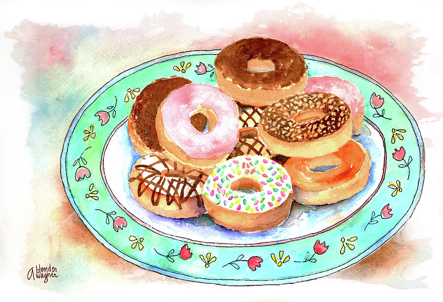 Donut Painting - Plate Of Donuts by Arline Wagner