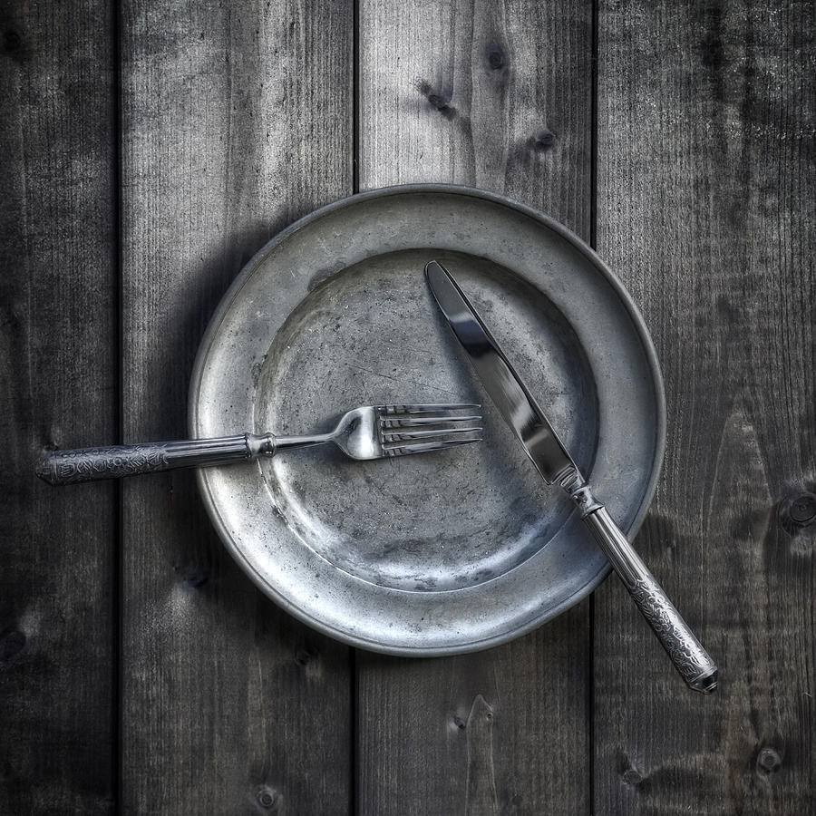 Silver Photograph - Plate With Silverware by Joana Kruse