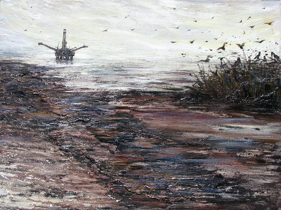 Oil Platform Painting - Platform by Judy Merrell
