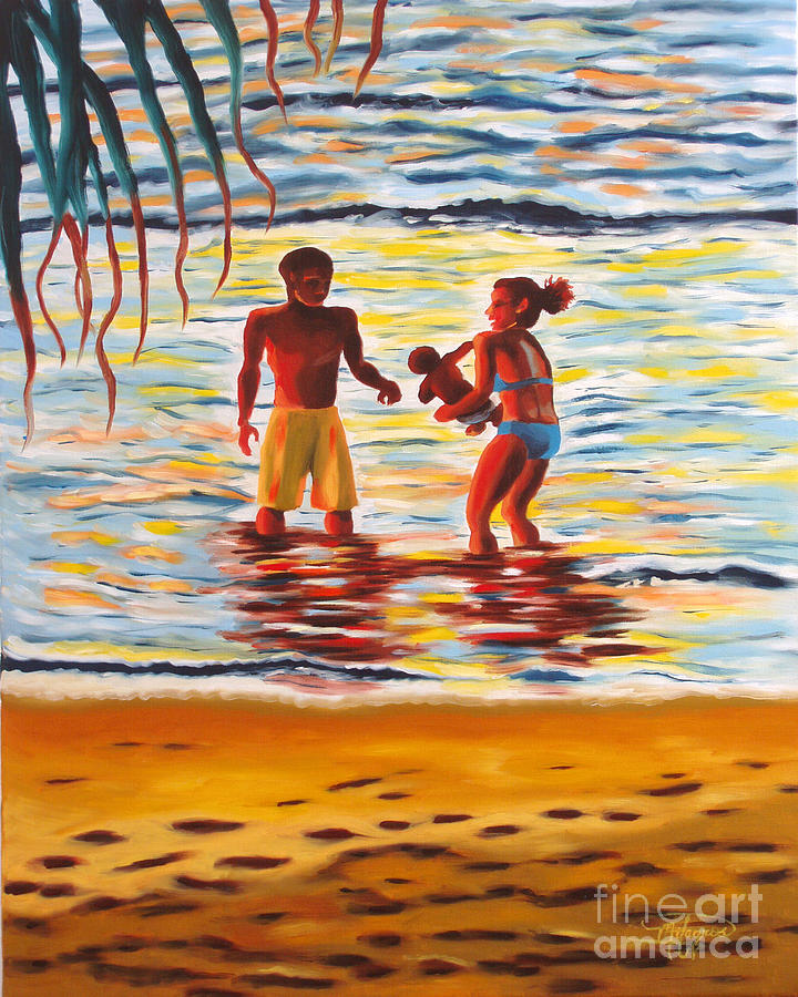 Ocean Painting - Play Day At Jobos Beach by Milagros Palmieri