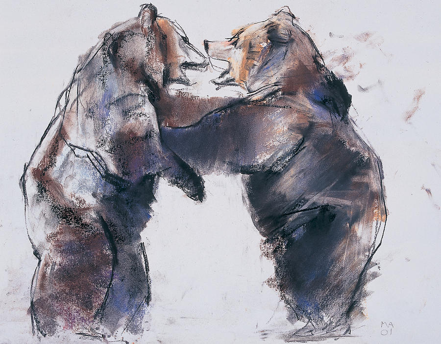 Brown Bears Drawing - Play Fight by Mark Adlington