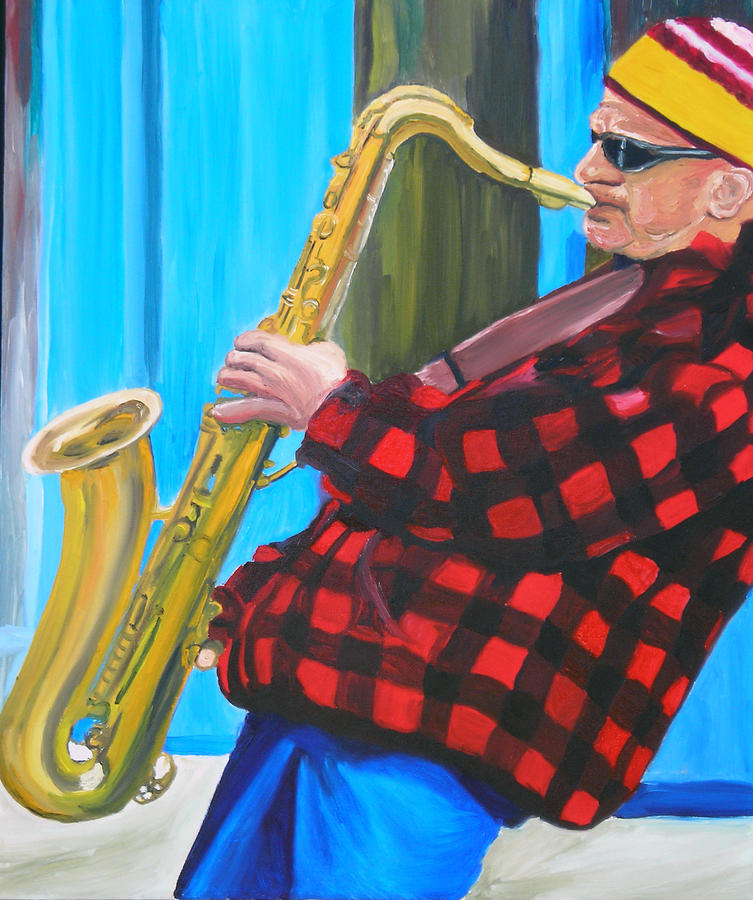Sax Player Painting - Play It Mr Sax Man by Michael Lee