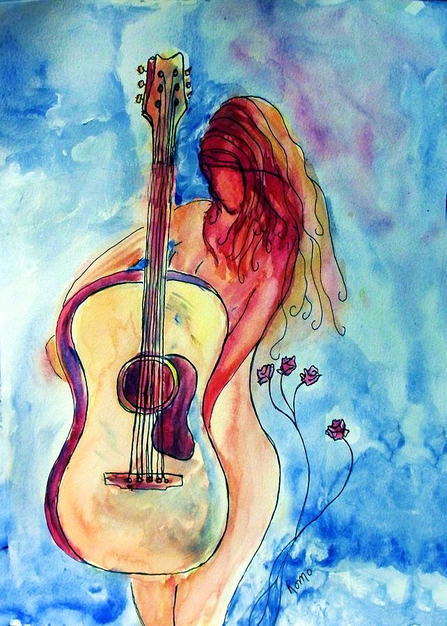 Guitar Painting - Play Me A Song by Robin Monroe