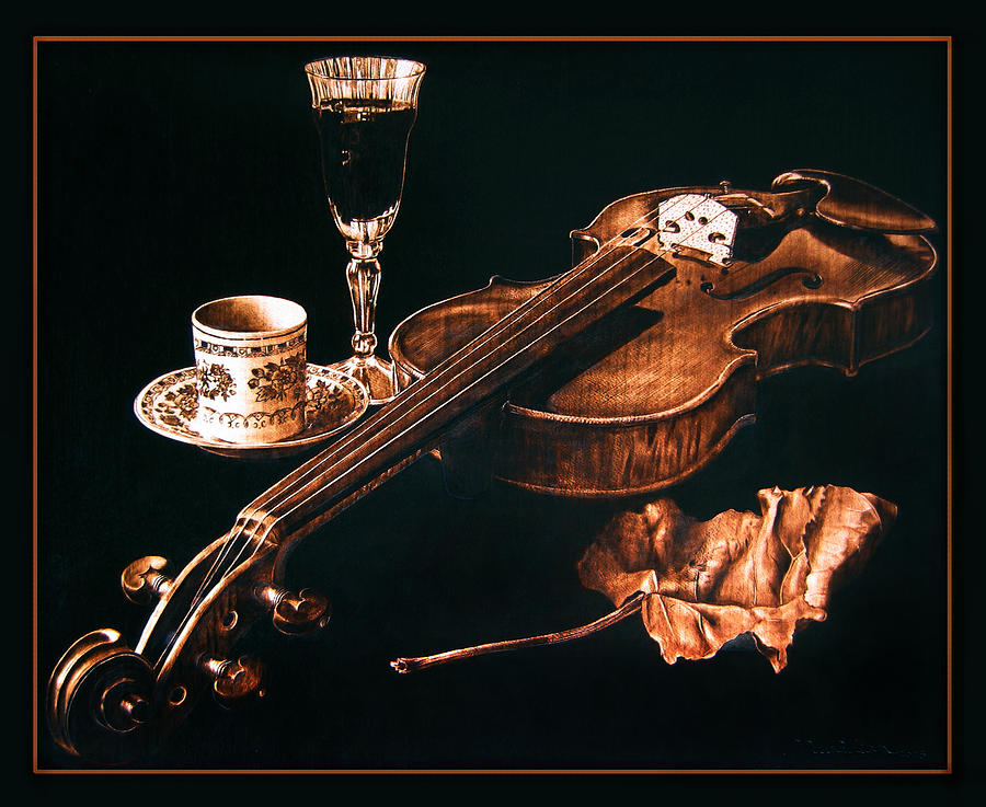 Still Life Pyrography - Play Me  by Dino Muradian