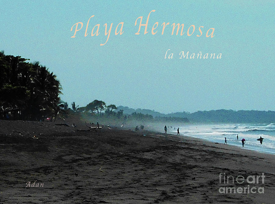 Silhouettes Photograph - Playa Hermosa Puntarenas Costa Rica - La Manana Poster Greeting Card by Felipe Adan Lerma