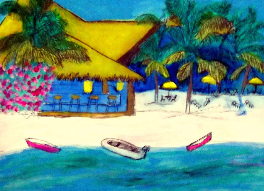 Playamexico Beachclub Painting by Ted Hebbler