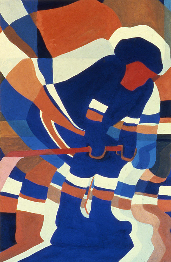 Hockey Painting - Player 2 by Ken Yackel