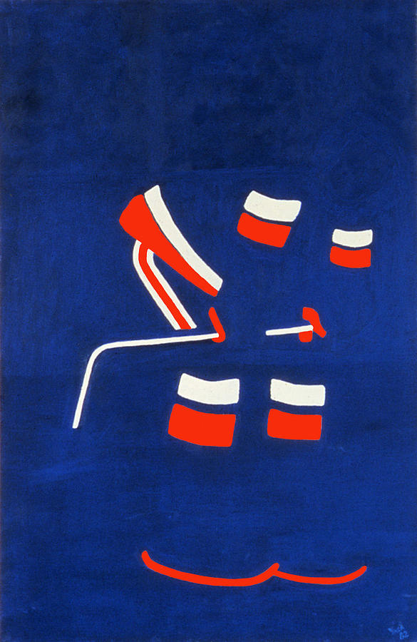Hockey Painting - Player 3 by Ken Yackel