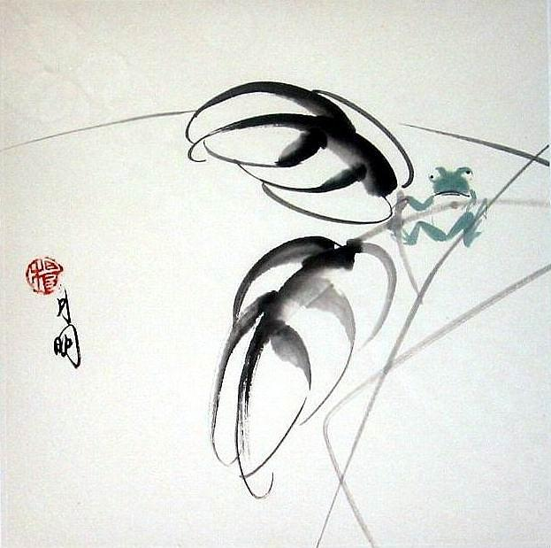Chinese Painting Painting - Playful Frog by Ming Yeung