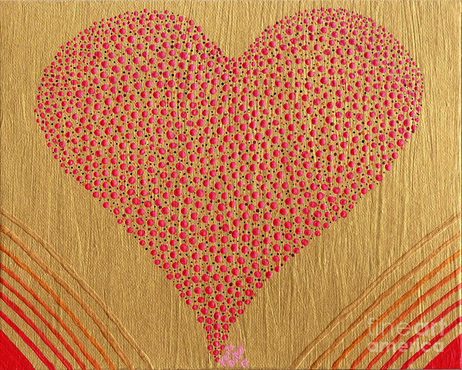 Acrylic Painting - Playful Heart by Kasia Bitner