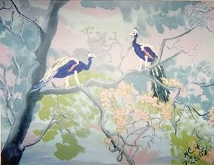 Botanical Painting - Playful Peacocks  Original by Christine Ward