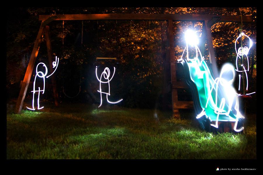 Light Painting Photograph - Playground At Night by Nicolas Lockheimers