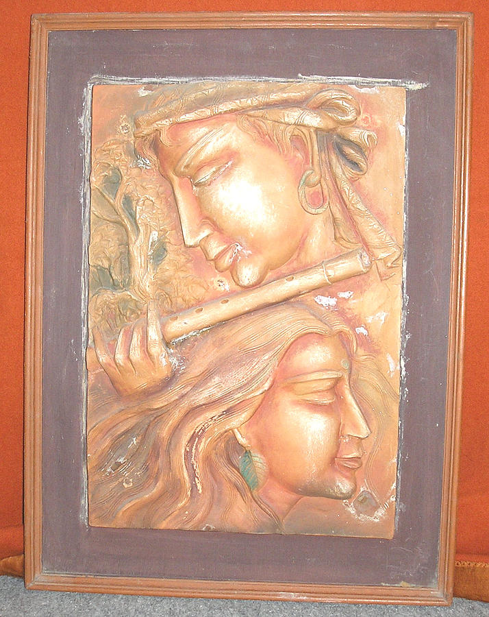 Wall Mural Relief - Playing Flute by Prity Jain