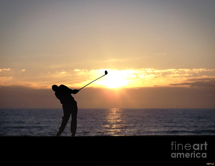 Photo Photograph - Playing Golf At Sunset by Phil Perkins