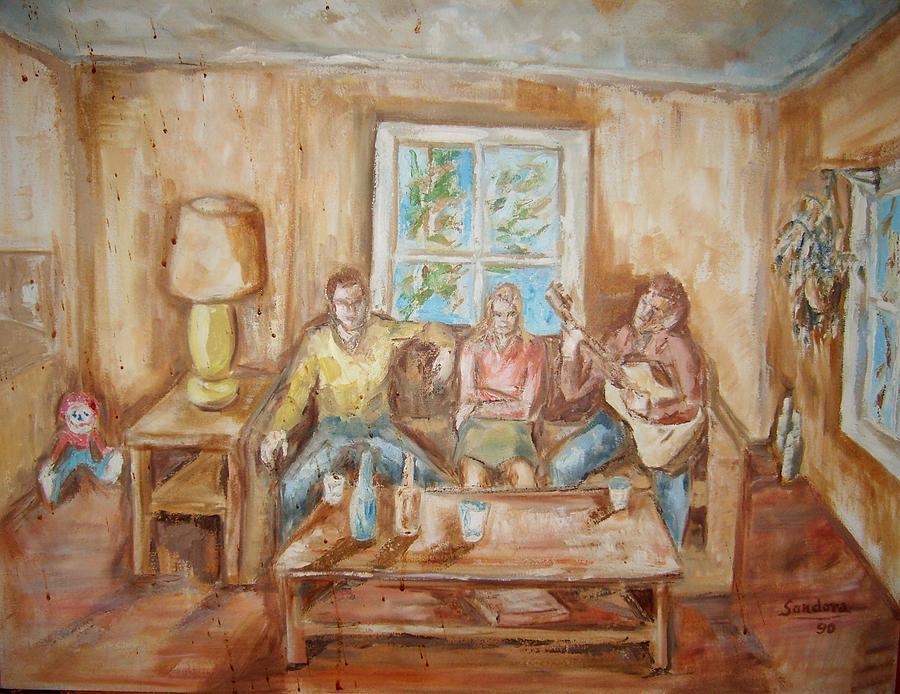 Playing Guitar Painting by Joseph Sandora Jr