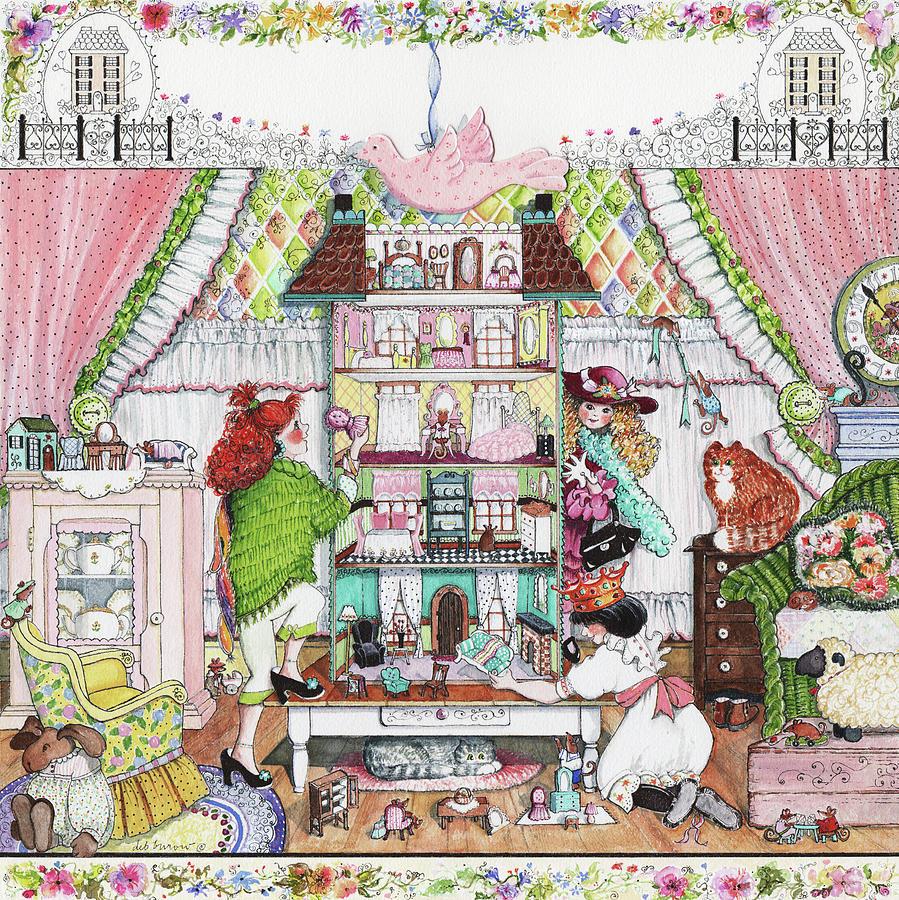 Dollhouse Painting - Playing House by Deborah Burow